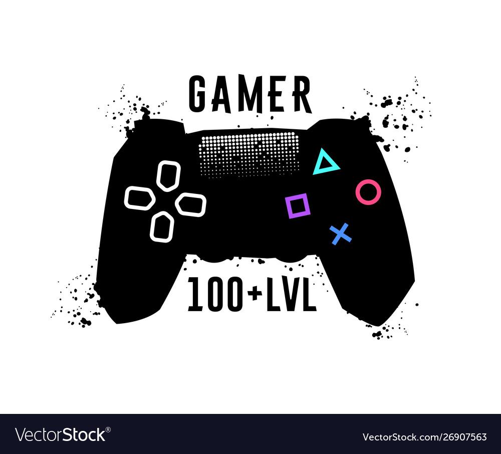 Gamer 100 level gamepad emblem t-shirt garaphics