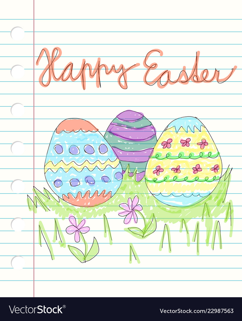 Happy easter and drawen colorful doodles - three