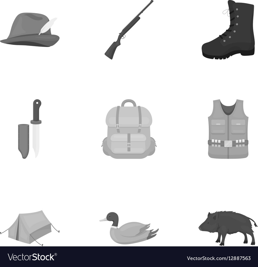 Hunting set icons in monochrome style Big vector image