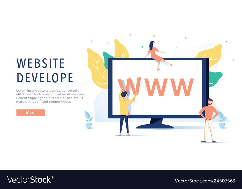 Landing page template of website on desktop