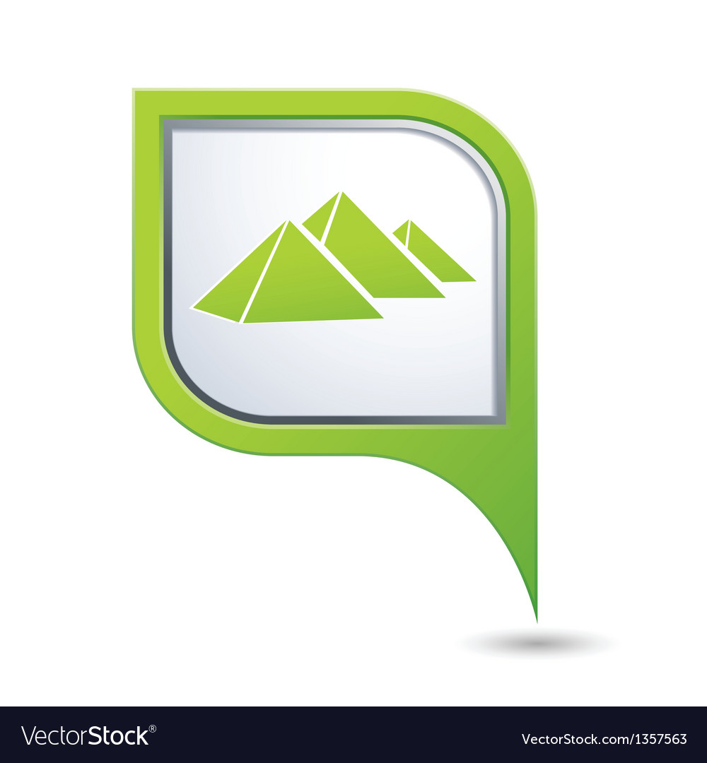 Map pointer with pyramids icon