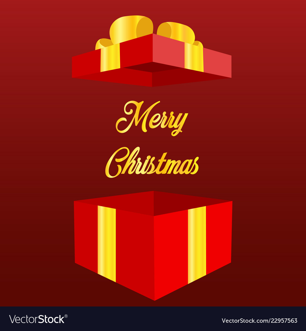 Open gift box with text merry christmas and happy