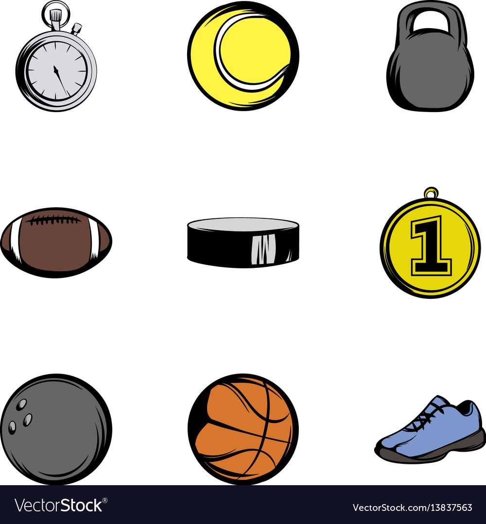 Sport icons set cartoon style