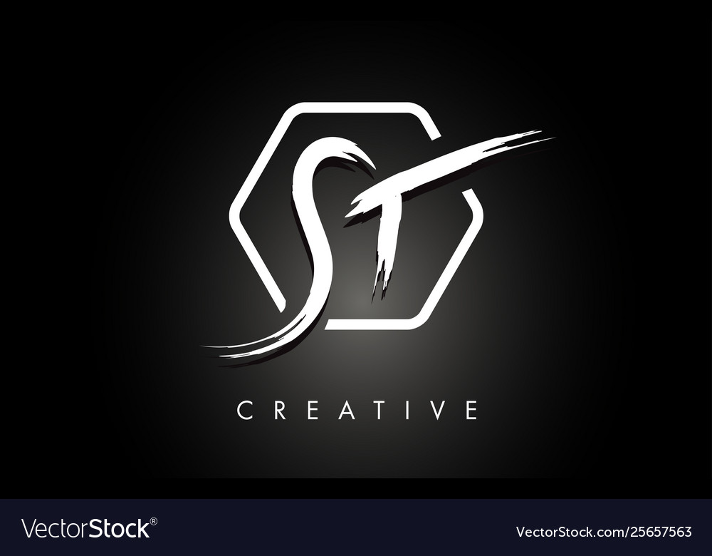 St S T Brushed Letter Logo Design With Creative
