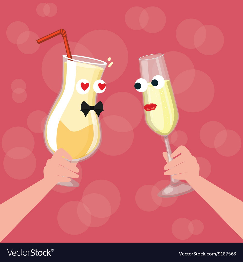 Two glass character cartoon cheers fall in love vector image