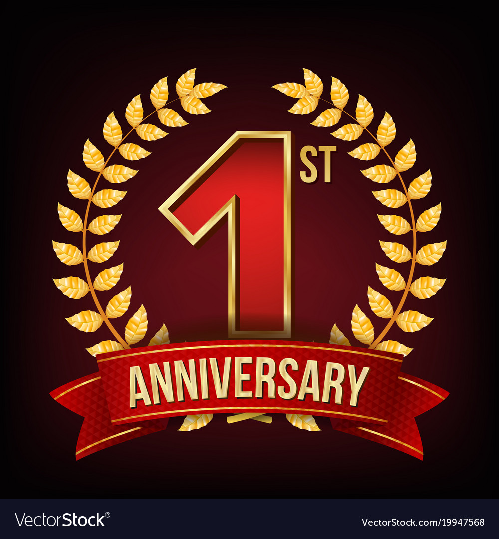 1 year anniversary banner one first Royalty Free Vector