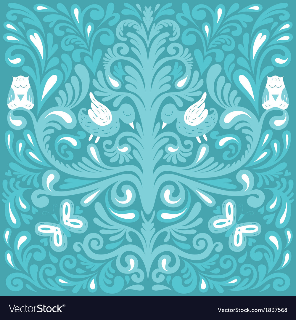 Beautiful floral pattern with owl