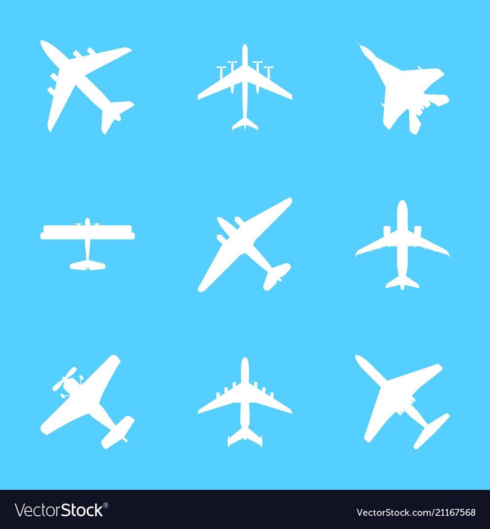 Cartoon white silhouette airplane set