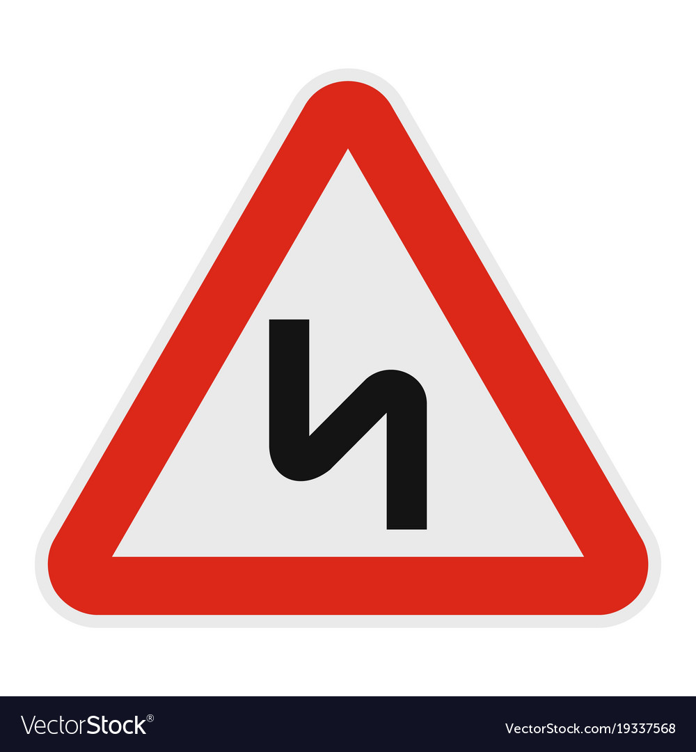 Dangerous turn right icon flat style