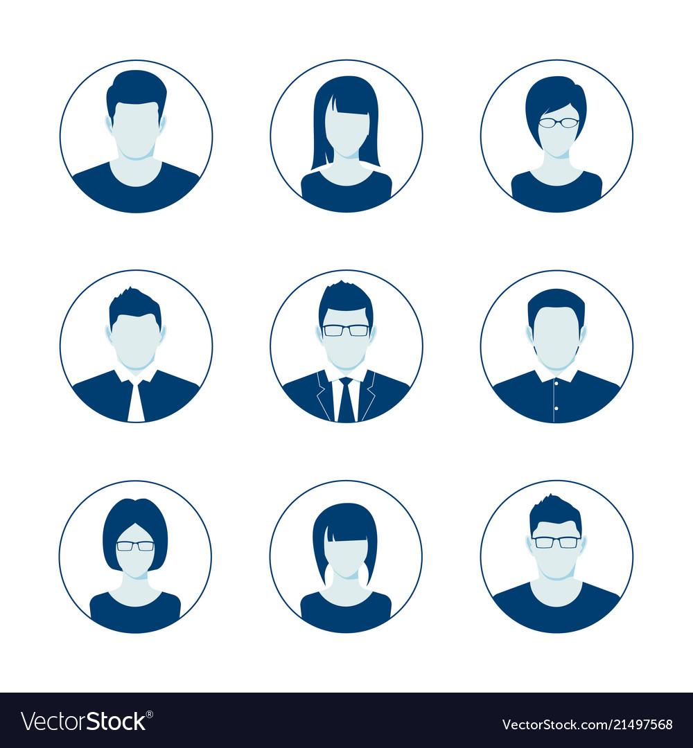 Default avatar profile icon set man and woman