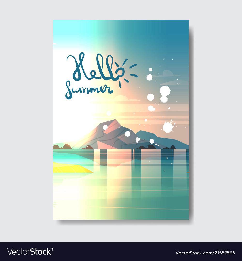 Hello summer beach mountain landscape badge design