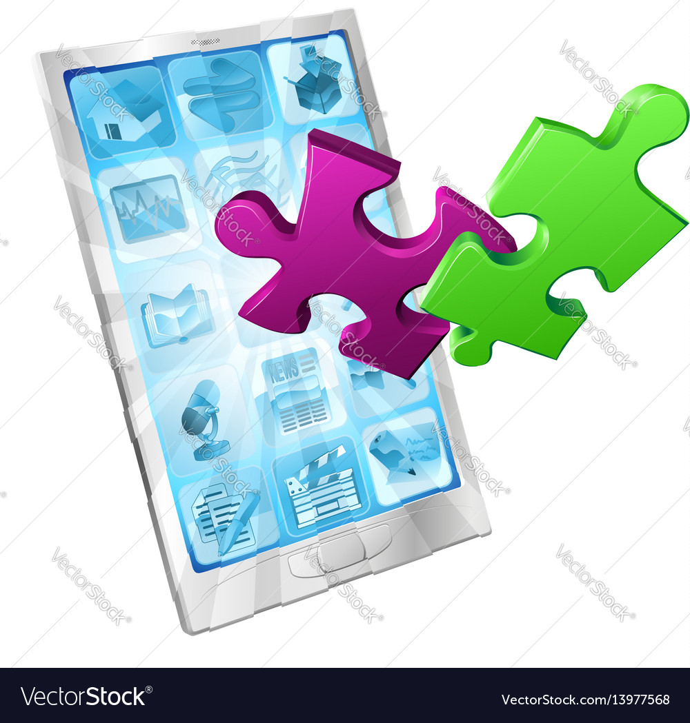 Jigsaw puzzle pieces flying out phone