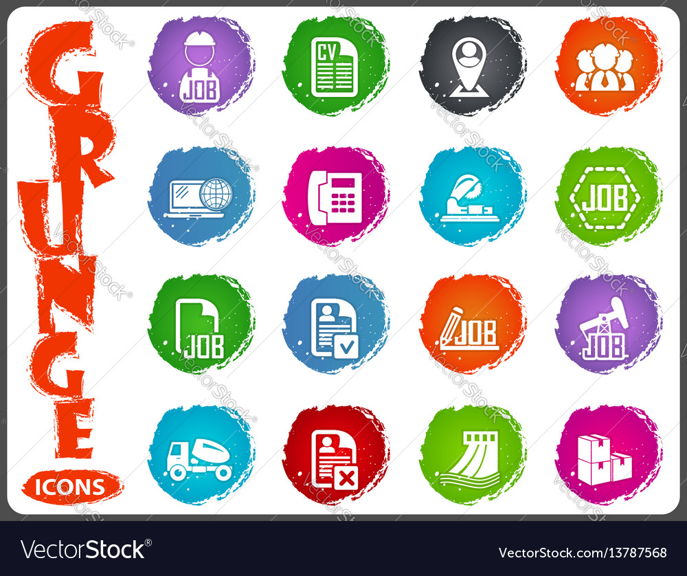 Job icons set in grunge style vector image