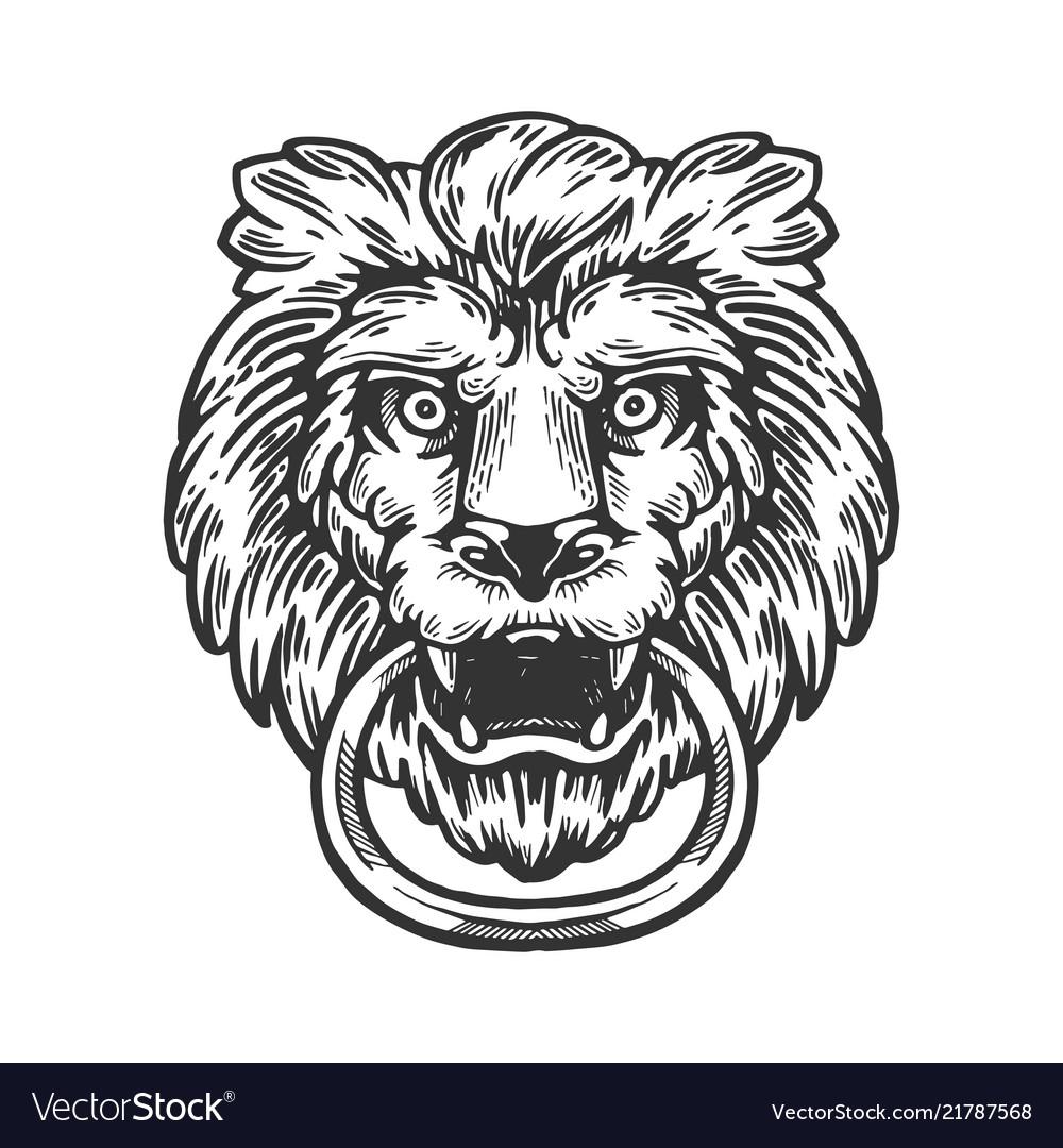 Lion Door Handle Engraving Vector Image