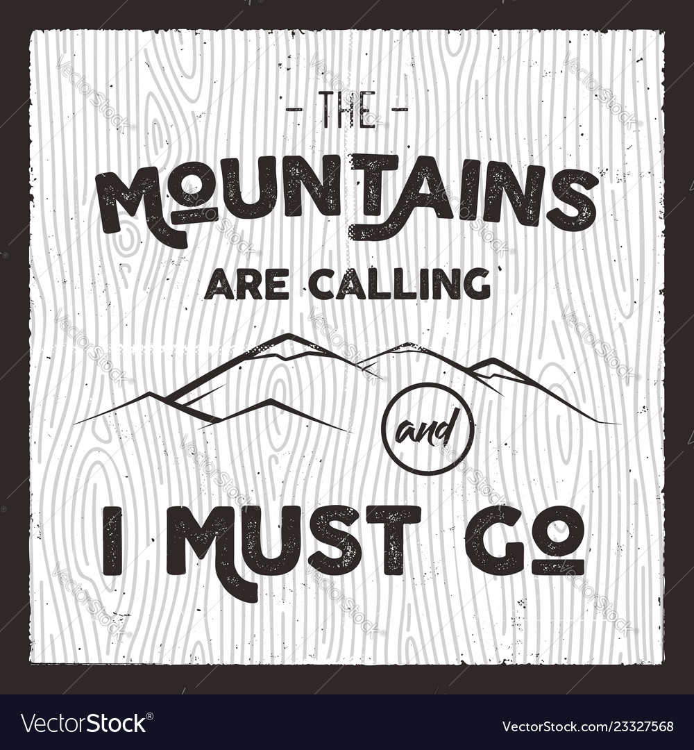 Mountain poster in retro silhouette style