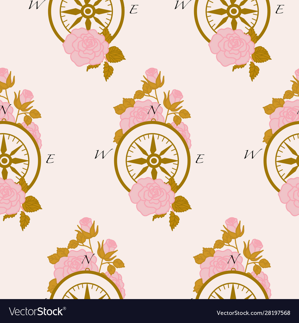 Pattern design with golden compass and pink roses