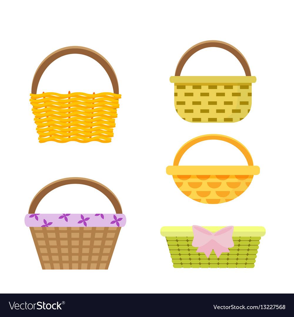 Set of wicker baskets in