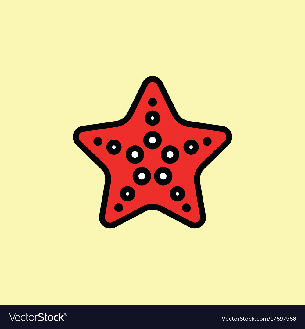 Starfish icon thin line on color background
