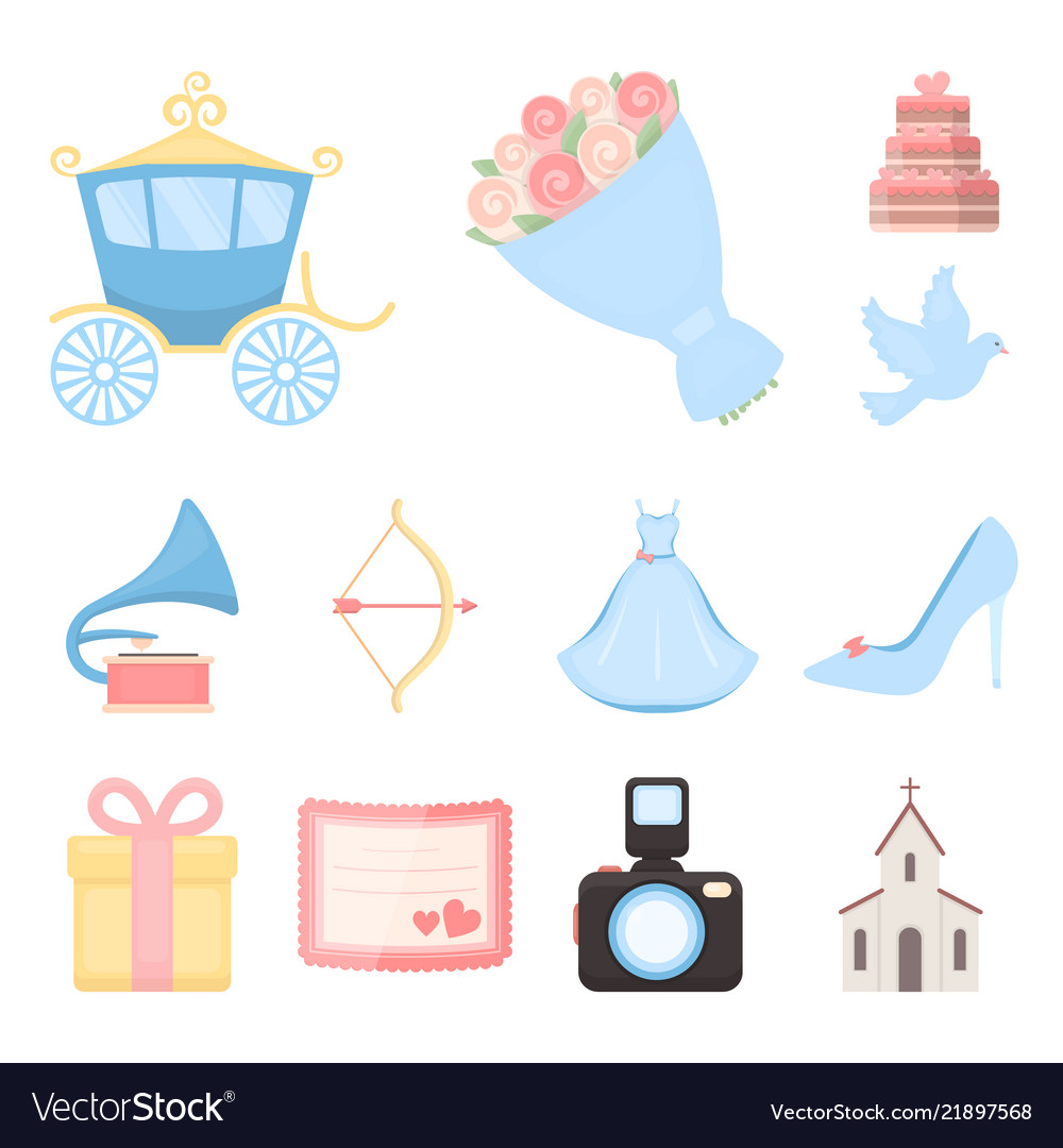 Wedding and attributes cartoon icons in set