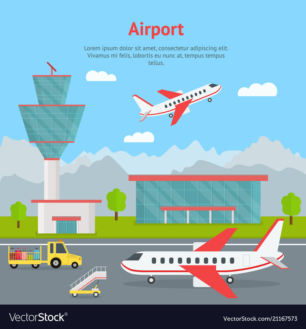 Cartoon airport building and airplanes concept