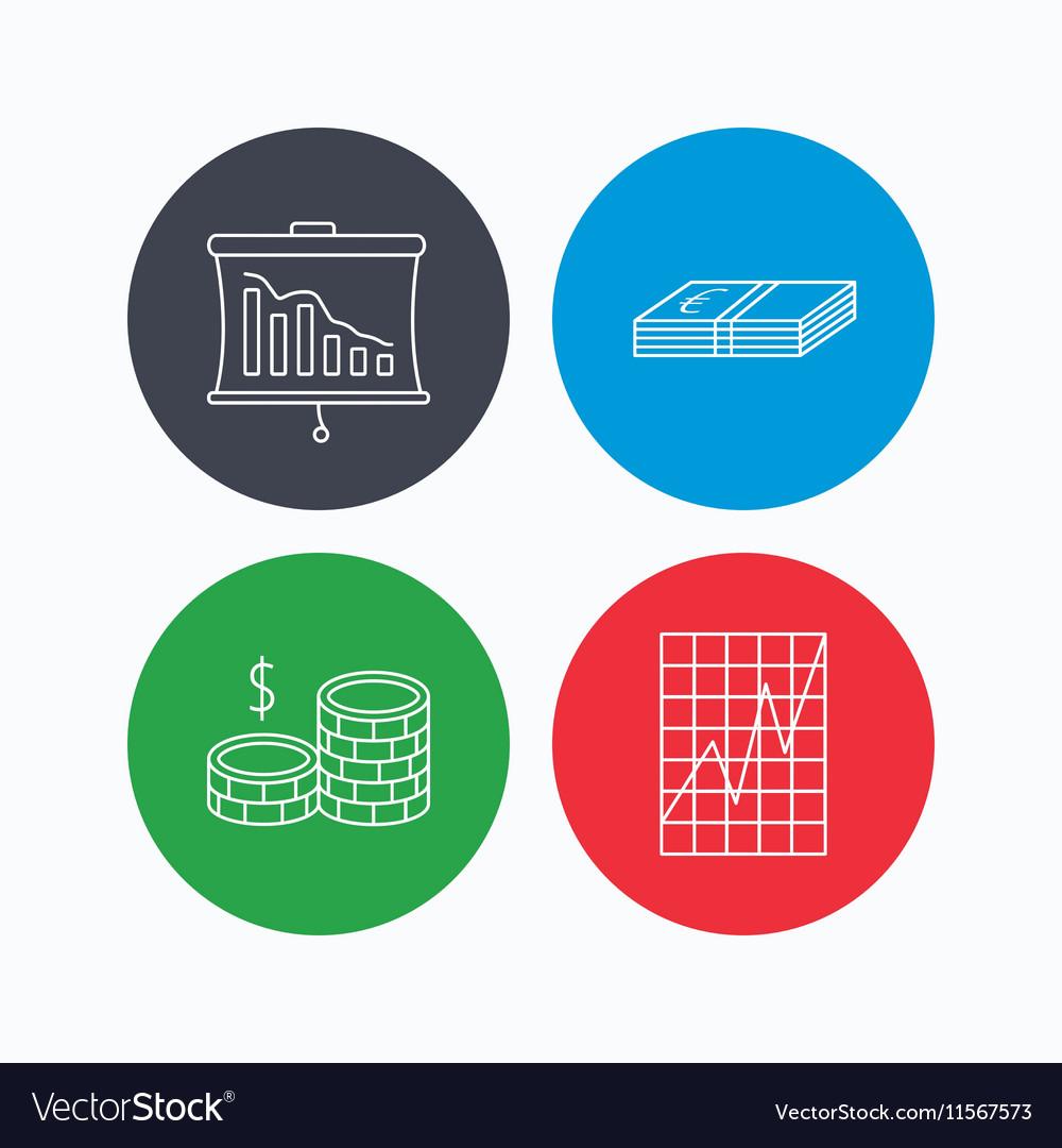 Chart cash money and statistics icons