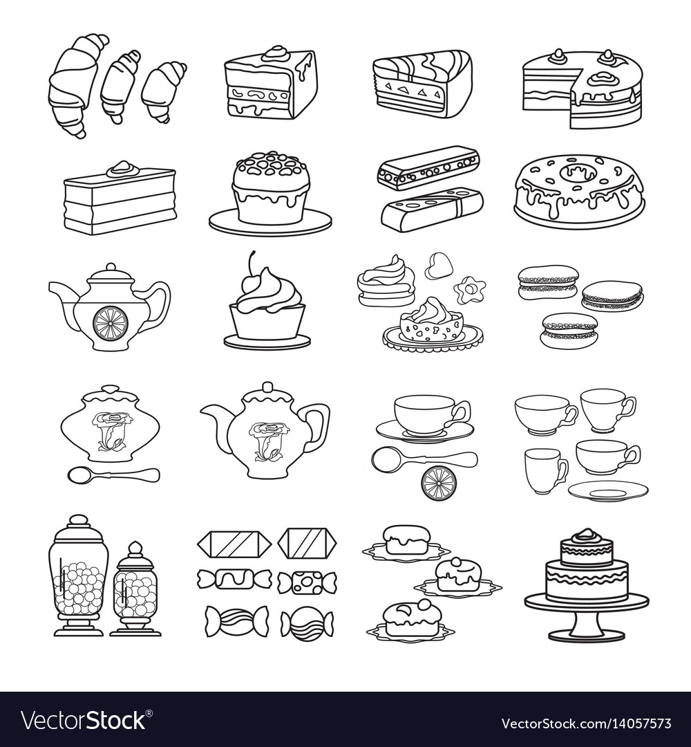 Confectionery icon set of cute various desserts