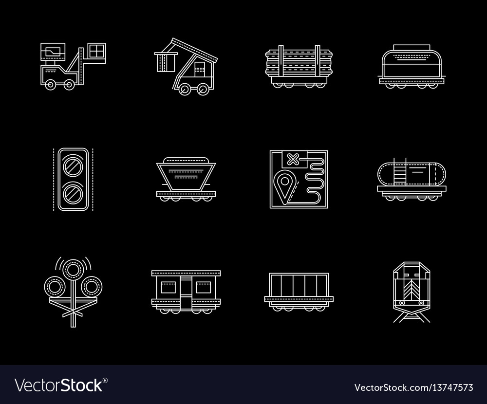 Flat white line icons set for railroad