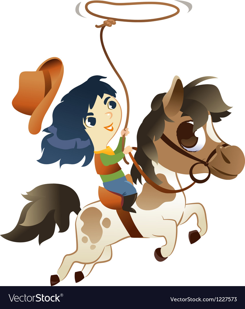 Girl on Small Horse with lasso