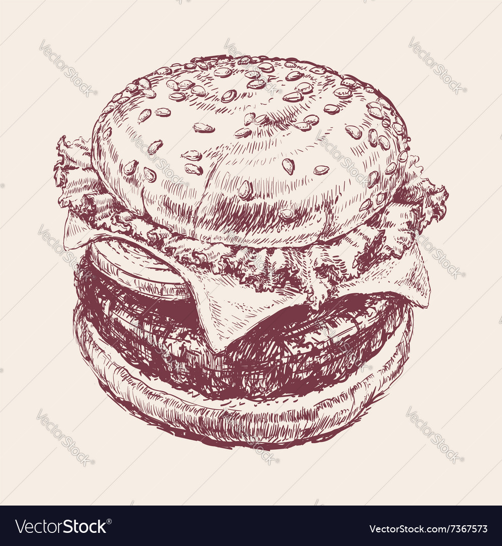 Hand Drawn of Hamburger