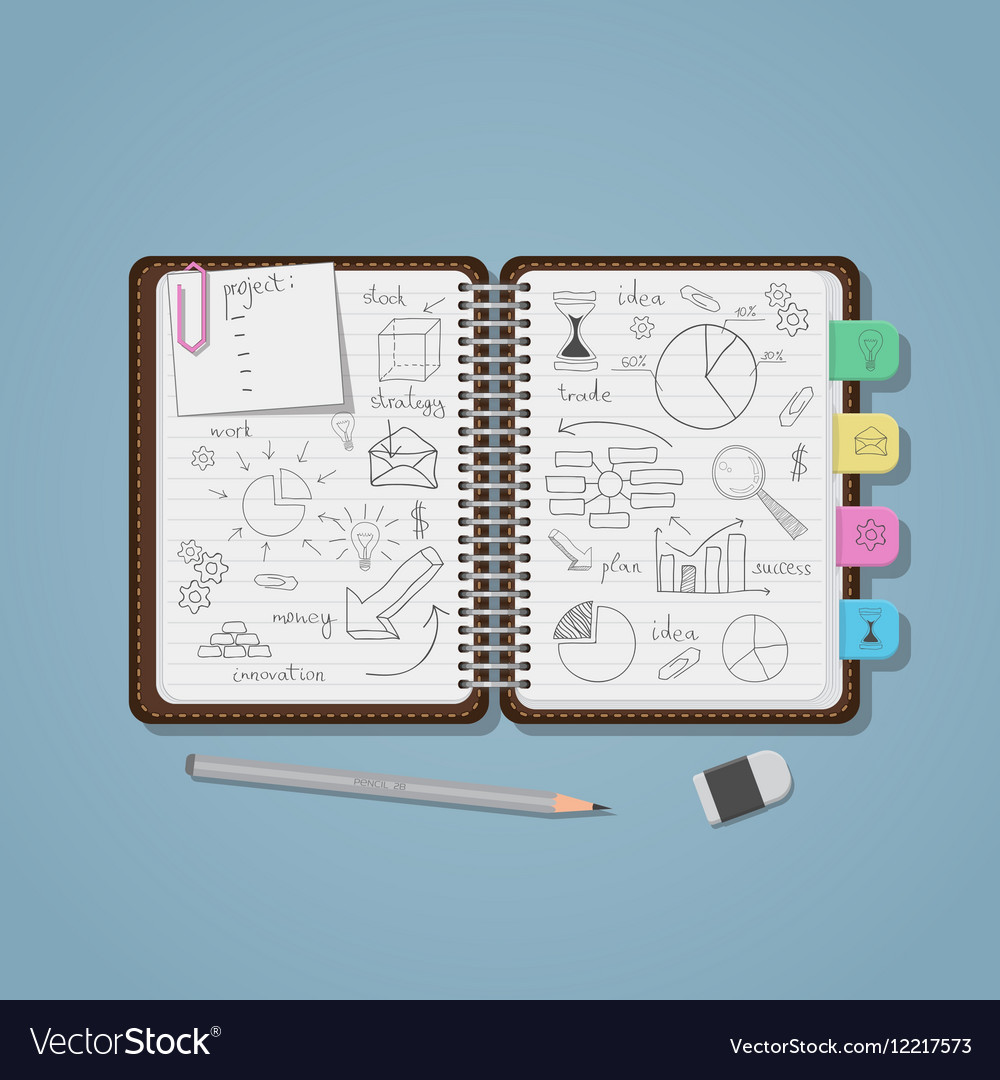 notebook with business pencil drawings royalty free vector