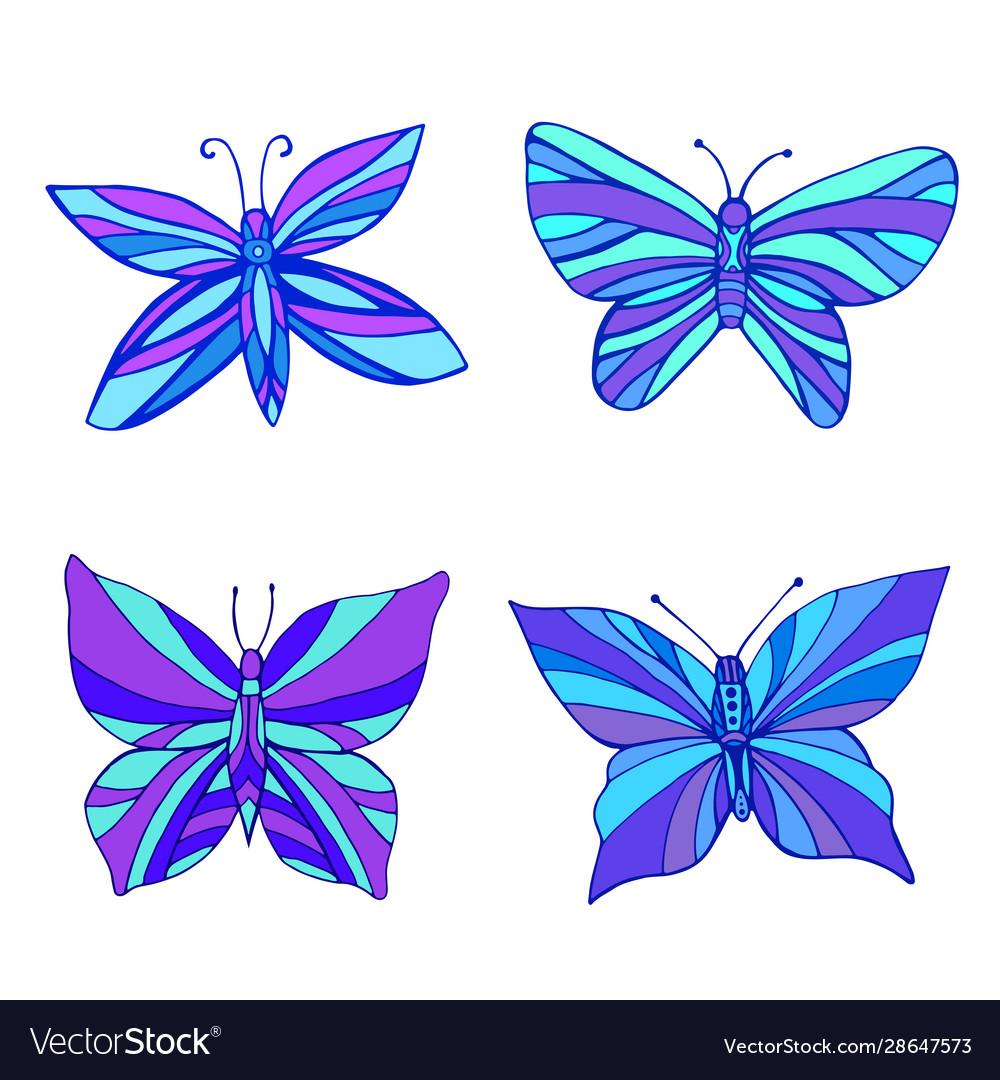 Set bright purple blue butterflies color
