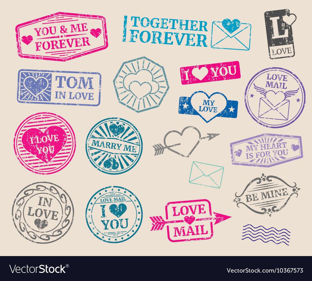 Vintage postage stamps set Romantic date vector image