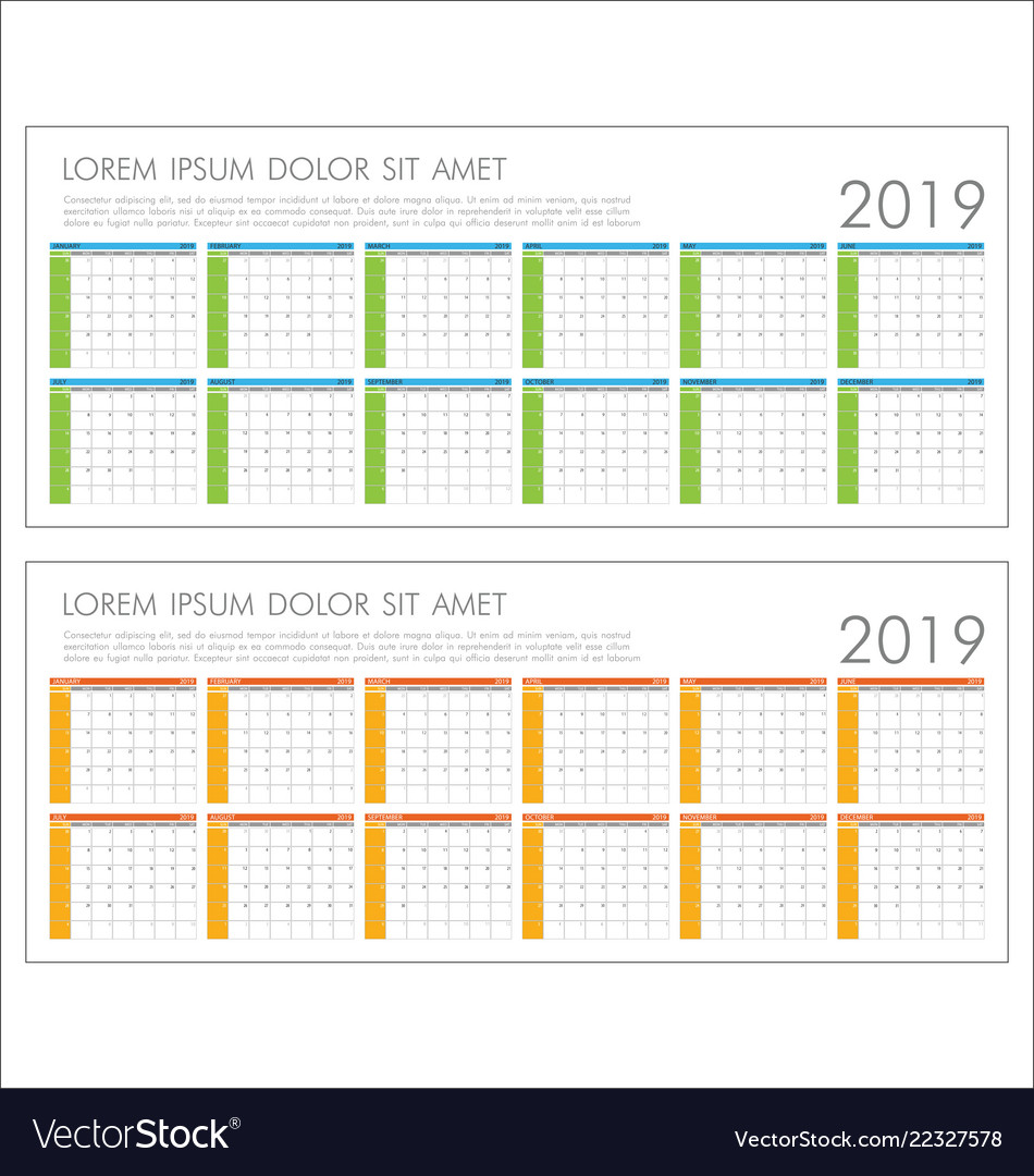 Calendar planner 2019 year simple minimal design