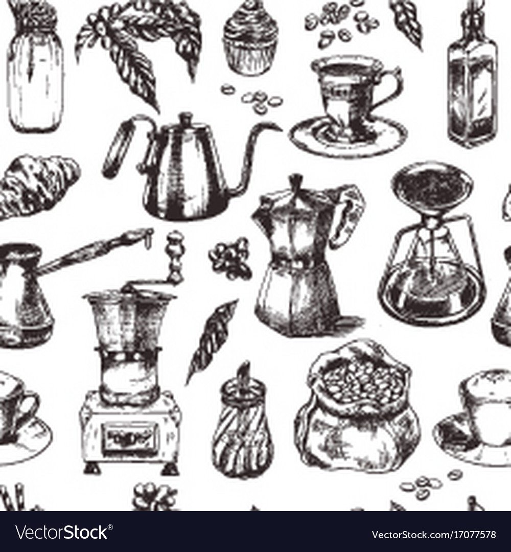 Coffee seamless pattern vintage hand drawn