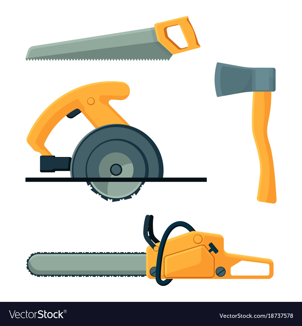 Deforestation icons of tools collection on