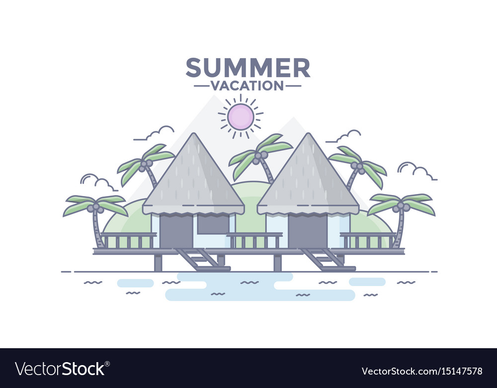 Flat line design hero image- beach house