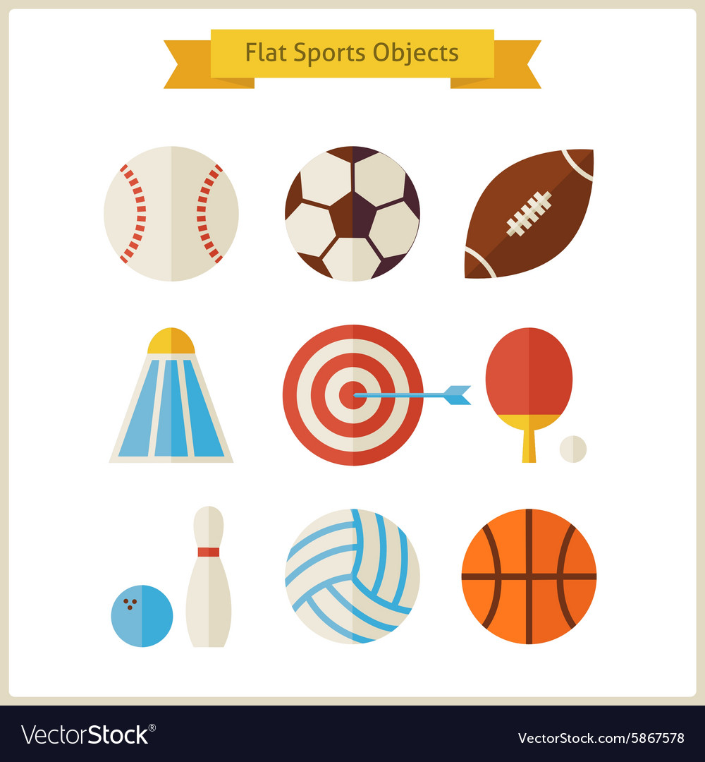 Flat Sports Objects Set vector image