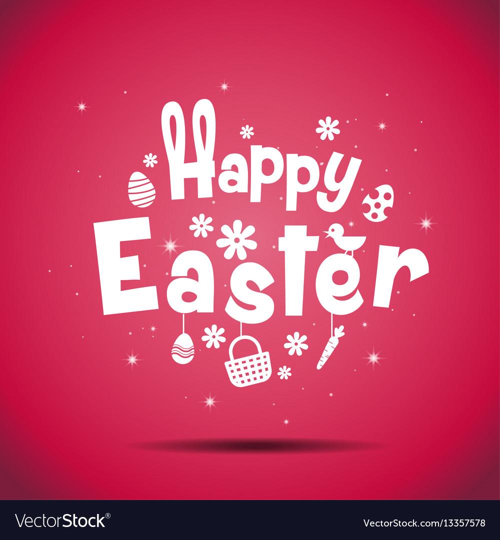 Happy easter typography bunny egg