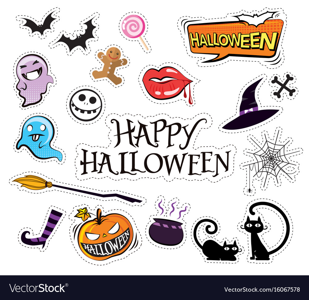 Set of cartoon graphic design halloween icons