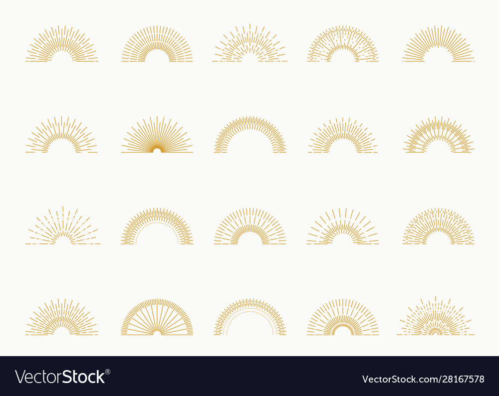 Sunburst set gold style isolated on white