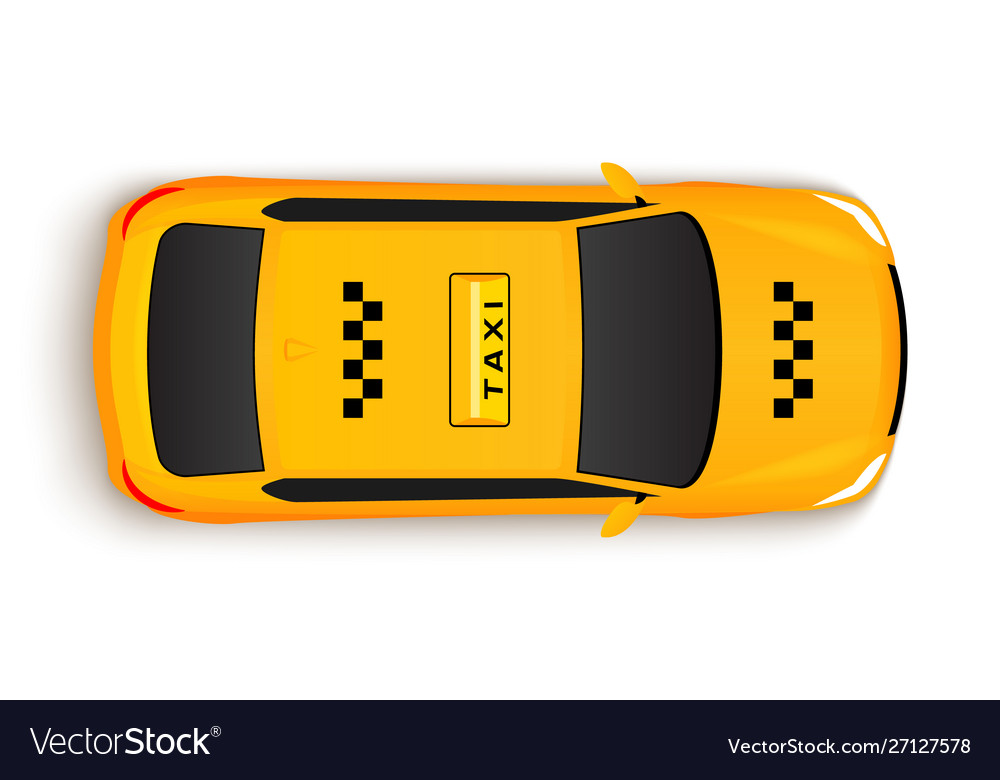 Taxi car top view cab yellow taxi car