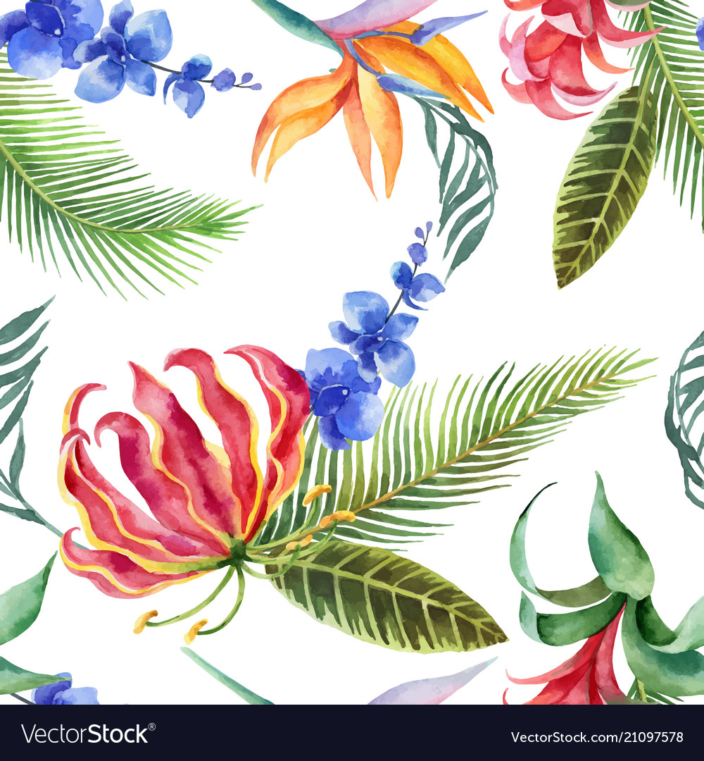 Watercolor seamless pattern tropical leaves and
