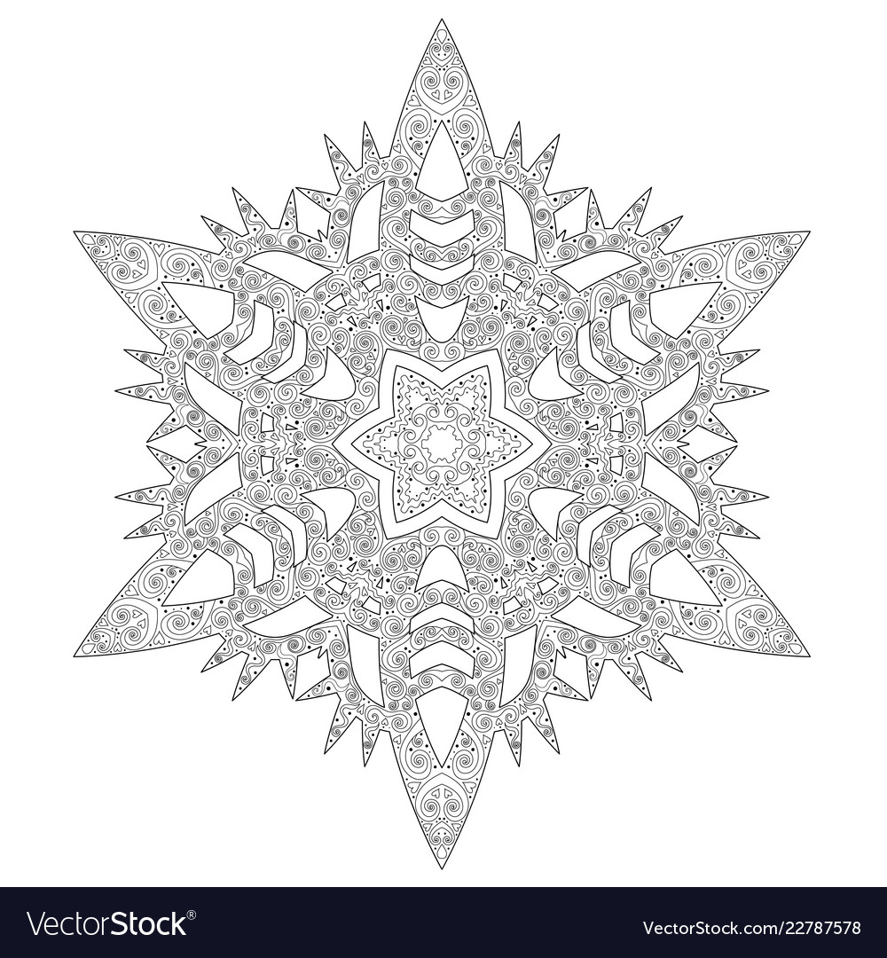 Winter coloring page with anti stress snowflake