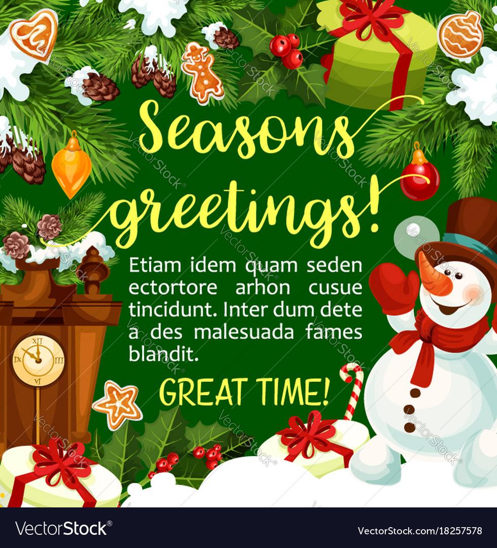 Winter Holiday Season Greeting Card Royalty Free Vector