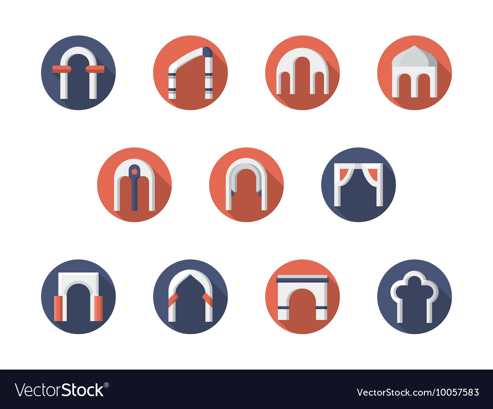 Arch constructions round flat icons set