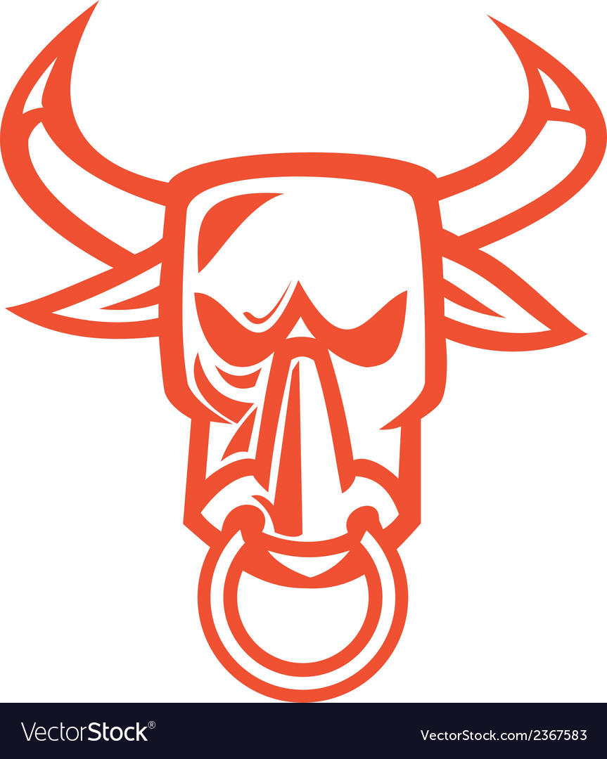 Bull Cow Head Nose Ring Cartoon Royalty Free Vector Image