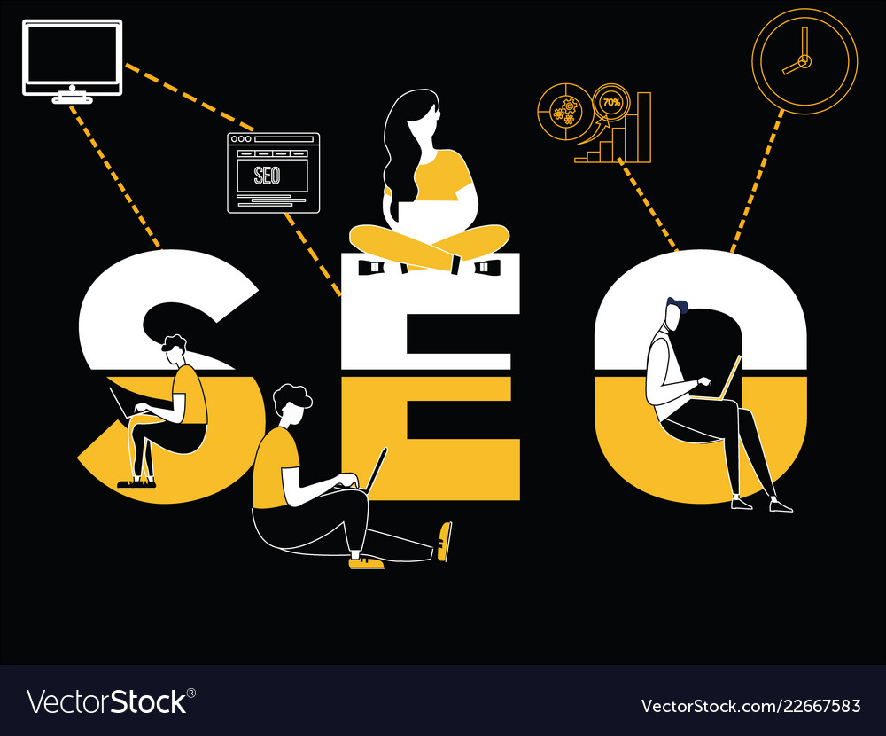 Creative word concept seo and people doing things