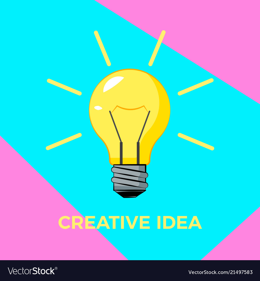 Cretive idea cartoon bulb with rays bisiness