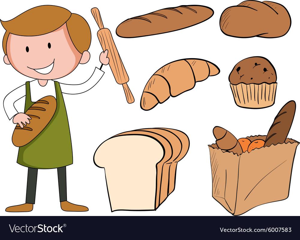 рисунок пекарь с хлебом объявил