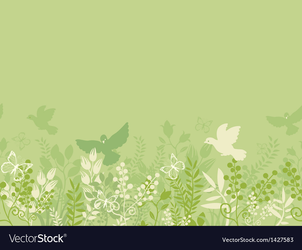 Green nature horizontal seamless pattern